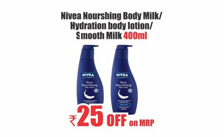 Rs 25 off on Nivea Nourishing Body Milk, Hydration body lotion or Smooth Milk 400 ml. Valid only at Heritage Fresh Outlets.