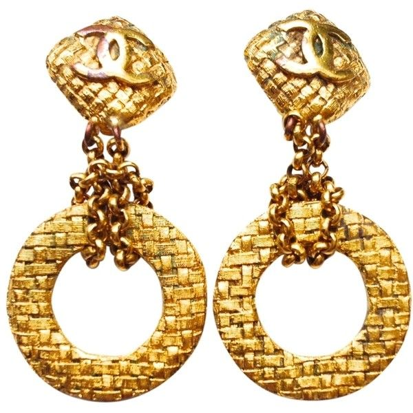 Pre-owned Chanel Vintage Season 80's Ex Lg Woven Dangle Earrings. (1,525 CNY) ❤ liked on Polyvore featuring jewelry, earrings, accessories, none, vintage clip on earrings, vintage jewelry, dangle earrings, vintage 80s earrings and clip on earrings