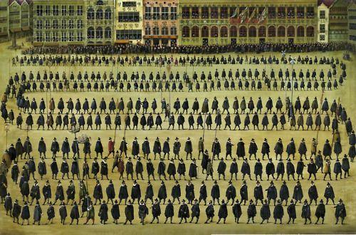 ECOLE DU XXEME SIECLE, D'APRES DENYS VAN ALSLOOT  La procession des guildes; et La procession de Notre-Dame du Sablon pendant la fête de l'Ommegang à Bruxelles en 1615