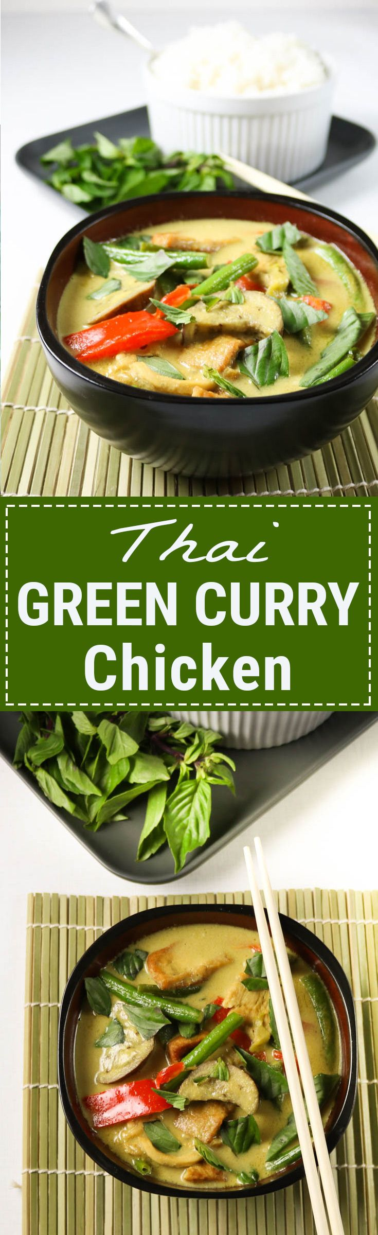 Fragrant coconut green curry simmered with fresh veggies and chicken. A one-pot, quick meal. Perfect for a weeknight. Serve with sticky or cauliflower rice for a seriously satisfying meal. Get the recipe at www.basilandoregano.com