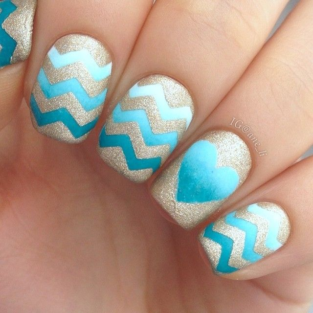 Turquoise gradient with chevrons and heart