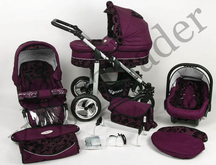 Silver 3 in 1 Pram Pushchair Stroller Travel System Purple / Flowers | eBay