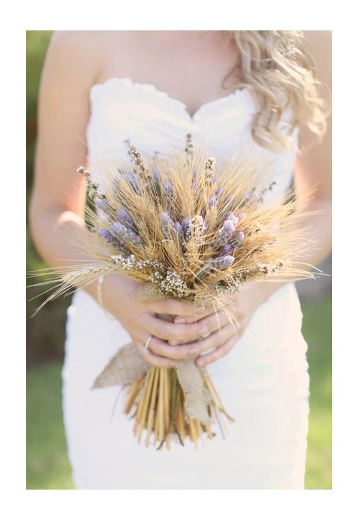 rustic country posy of wheat , lavender and tea tree  with hessian jade mcintosh flowers