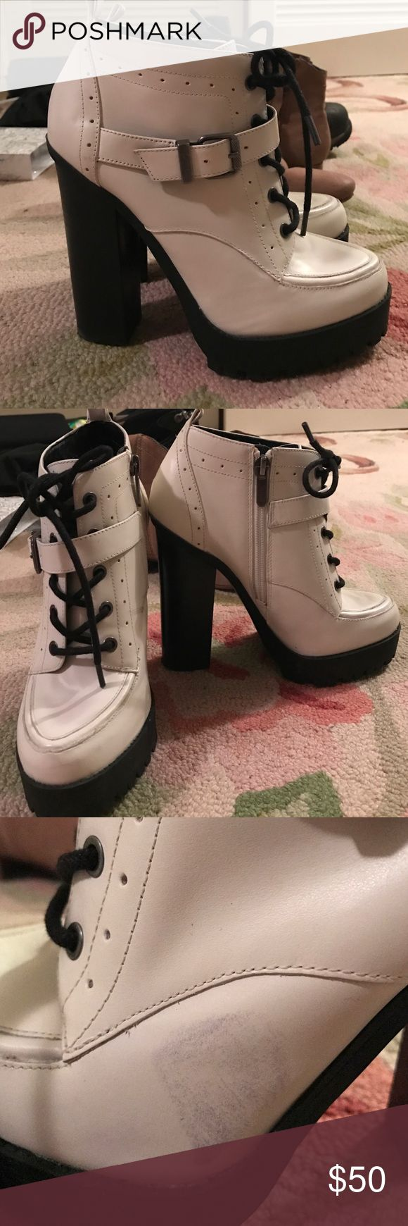 Black and white Sam Edelman booties size 6.5 Black and white Sam Edelman booties size 6.5.  Zips on inside to put on and take off - don't need to re-tie each time. Platform and stacked heel. Small scuffs on front and small black scuff on side of left boot - priced accordingly Circus by Sam Edelman Shoes Ankle Boots & Booties
