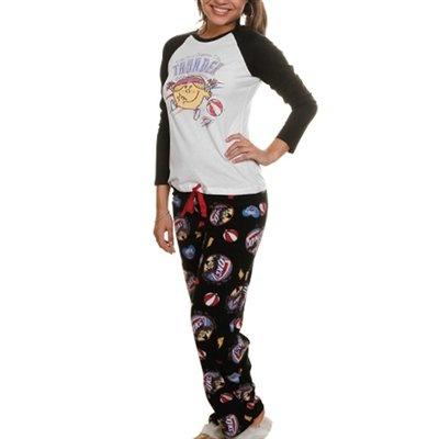 Oklahoma City Thunder Ladies White-Black Little Miss NBA 2-Piece Pajama Set