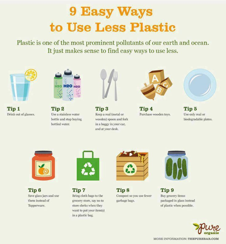 poster of simple ways to use less plastic from thepurebar.com/