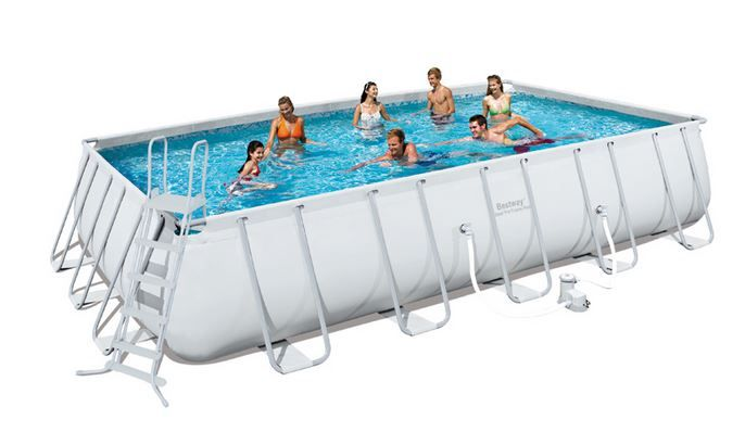 Piscine Tubulaire Rectangulaire Power Steel Frame Pool 549 x 366 x 122 cm au meilleur prix ! - LeKingStore