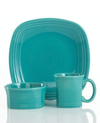 Contemporary (post-1986) Fiesta Ware by Homer Laughlin. Square. Turquoise. Made in the US. (3-pc placesetting) $40