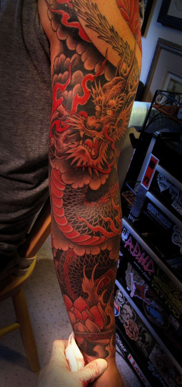 ... Dragon Sleeve on Pinterest | Dragon sleeve tattoos Japanese dragon