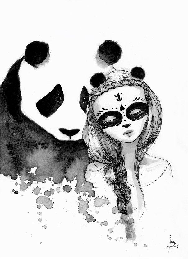 pandamonium i draw panda maiden illustrations using indian ink bored panda