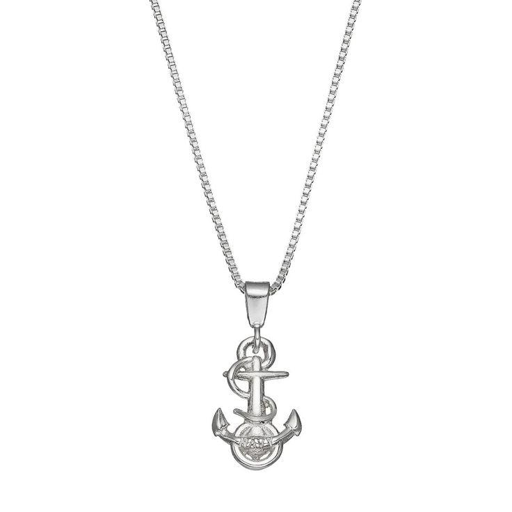 "Dayna U US Navy Anchor Sterling Silver Pendant Necklace, Women's, Size: 18"", Grey"