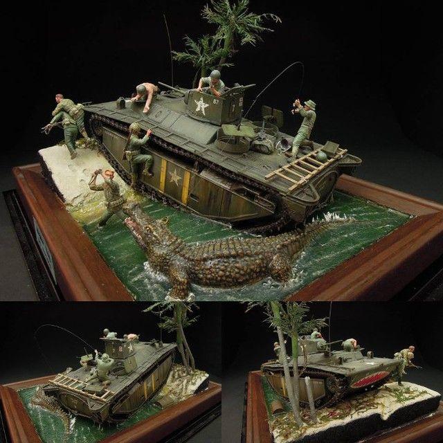 Wow!!! Alligator King 1/35 diorama. Modeler Supaicc Iccoyote #alligator #miniature #diorama #hobby #plastimodelismo #plasticmodel #scalemodelkit #usinadoskits #udk