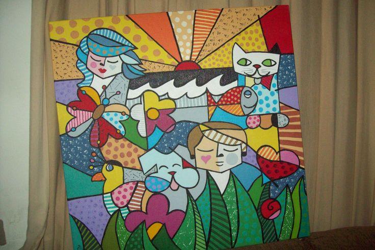 Releitura, abstrato de Romero Britto.