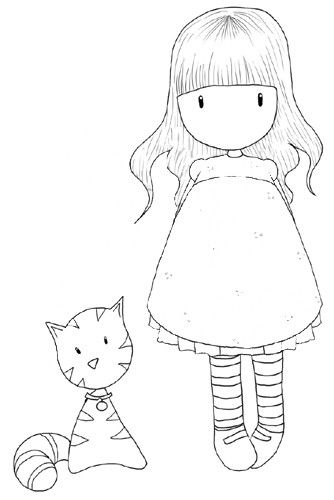 gorjuss girl with her cat