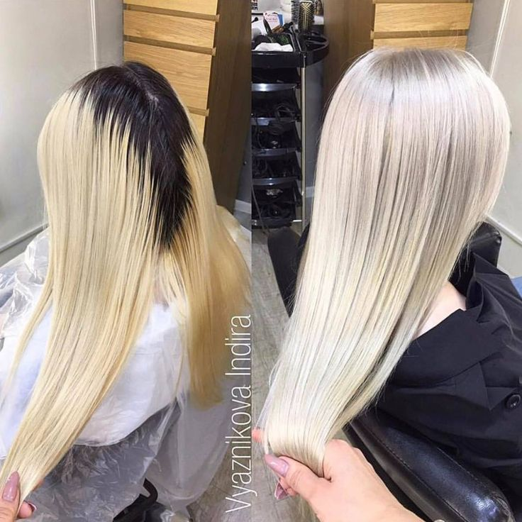 Look at those ROOTS! Black to white with dramatically reduced damage by adding Olaplex to the lightener. To ensure all of your clients have the healthiest service possible, no matter what their hair type is, add Olaplex to every single bleach formulation you mix. The results will speak for themselves.   Stunning before and after by instagram.com/indiravyaznikova showing flawless platinum roots to ends.