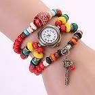 Koshi 2014 Women's Vintage Colorful Wooden Beads Tibetan Folk Chain Watch