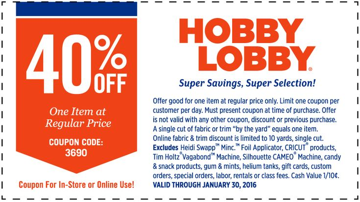 Pinned January 25th: 40% off a single item at Hobby #Lobby or online via promo code 3690 #coupon via The #Coupons App