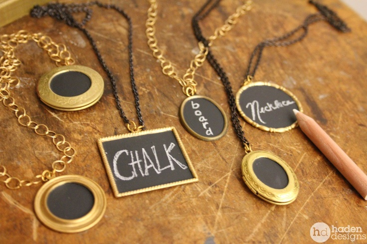More from Haden Designs! chalkboard pendant necklace (large round). $28.00, via Etsy.
