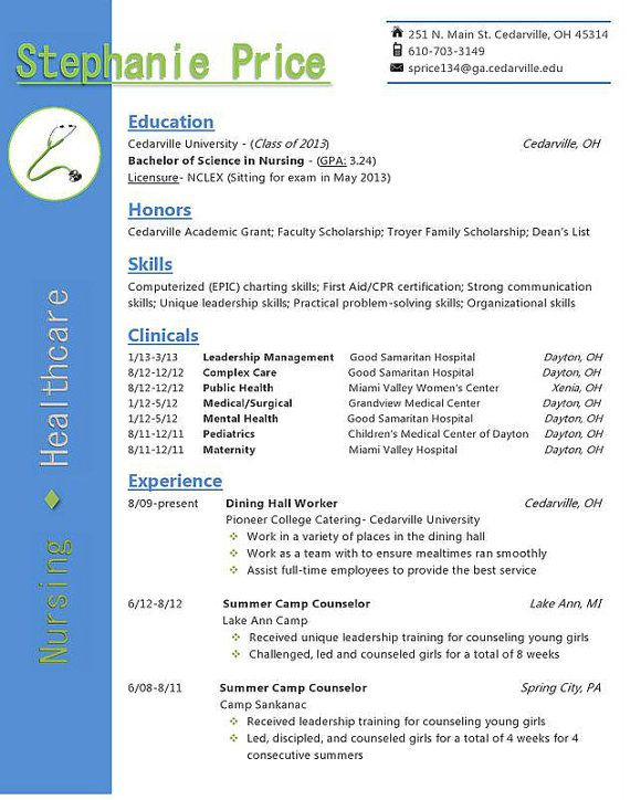 This resume featuring a stethoscope and clean organization is a great resume for nurses, PRNs, doctors or anyone in the medical field! It comes