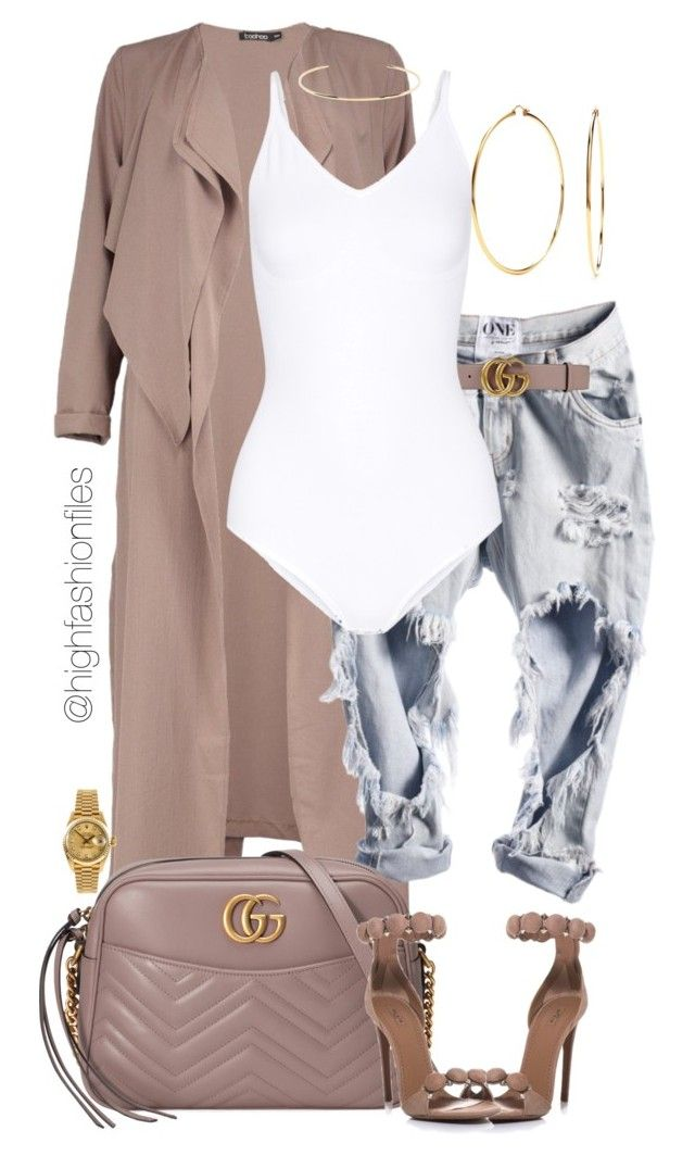 """Untitled #2741"" by highfashionfiles on Polyvore featuring Boohoo, Gucci, Rolex, Nadri, Yummie by Heather Thomson, Alaïa and Jennifer Fisher"