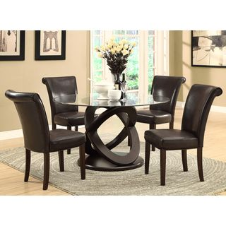 @Overstock.com - Dark Espresso 48-inch Tempered Glass Dining Table - Create a refined dining experience with this 48-inch diameter dining table, featuring a rich dark espresso finish. This table also highlights a an Olympic ring design, thick beveled glass, and a durable construction.  http://www.overstock.com/Home-Garden/Dark-Espresso-48-inch-Tempered-Glass-Dining-Table/8328017/product.html?CID=214117 $661.99