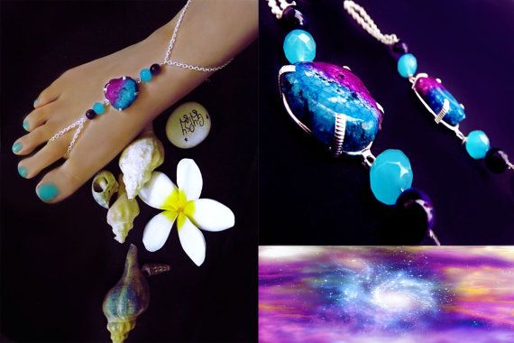 'Nomadic beauty' Gypsy inspired, crystal and gemstone barefoot sandals