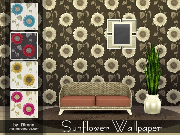 Sunflower Wallpaper by Rirann at TSR via Sims 4 Updates