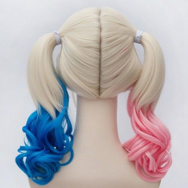 Harley Quinn Cosplay Wig, Suicide Squad Curly Gradient Hair Wigs ($25) ❤ liked on Polyvore featuring beauty products, haircare, hair styling tools, hair and curly hair care
