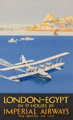 Vintage Airline Posters, Imperial Airways, The British Air line. London to Egypt