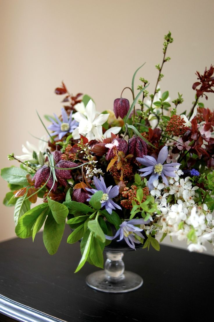 Wedding garden flowers - Spring Garden Arrangement With Clematis Narcissus And Fritillary By Clare Day Flowers At Red