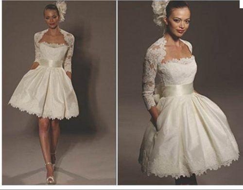 Prix bon marché! 2014 nouvelle livraison gratuite une ligne au genou, blanc,/wth veste robes de mariée en dentelle ivoire oe 2114 en stock