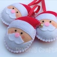 x3 Christmas Jingle Bell Santa Claus Felt Decorations, Ornaments