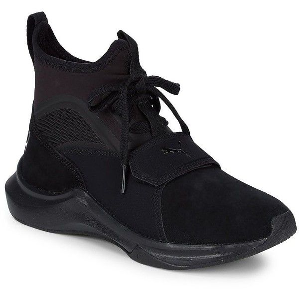Puma Women's Phenom Training Shoes (1,945 EGP) ❤ liked on Polyvore featuring shoes, athletic shoes, black, high top shoes, lace up shoes, black laced shoes, puma high tops and black hi tops