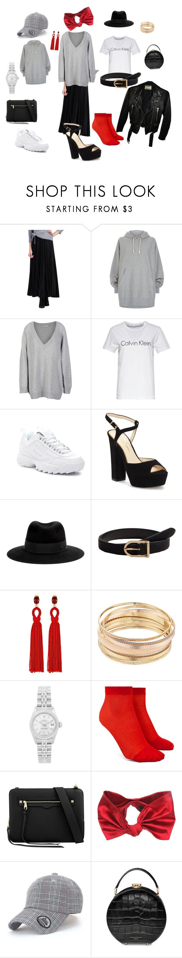 """""""Midi skirt. Outfit for spring"""" by samoyed-88-88 ❤ liked on Polyvore featuring Jolie Moi, Champion, T By Alexander Wang, Calvin Klein, Fila, Jessica Simpson, Maison Michel, MANGO, Oscar de la Renta and Mudd"""
