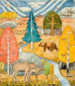 """Erik Werenskiold - """"Alle skogens dyr"""" 1935"""