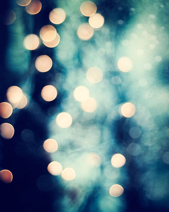 "Bokeh Photography - dark navy blue gold lights sparkly beige sparkle wall print black circle cream, 8x10 Photograph, ""Let Your Light Shine"""