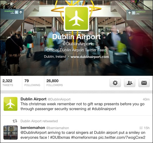 Dublin Airport wins best Twitter feed for Airports at the Moodie Awards (Dec 2012)