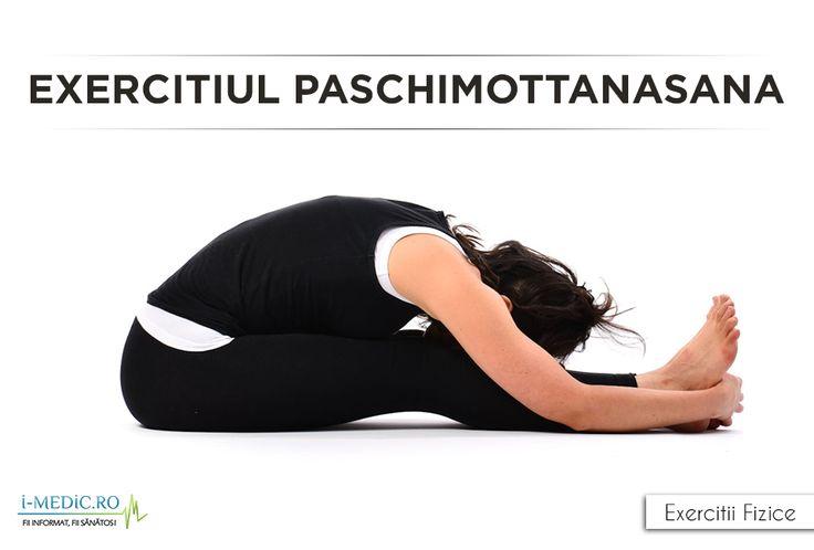 Avantajele Posturii Paschimottanasana - Constituie un exercitiu excelent de stretching pentru tendoane, spate, umeri si coloana vertebrala. - Calmeaza sistemul cerebral. - Amelioreaza stresul si formele blande ale depresiilor. - Imbunatateste functionarea rinichilor, ficatului, ovarelor si a uterului. http://www.i-medic.ro/exercitii/yoga/exercitiul-paschimottanasana