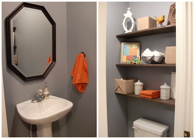 Shelves in bathroom apartment pinterest for Yellow tile bathroom paint colors