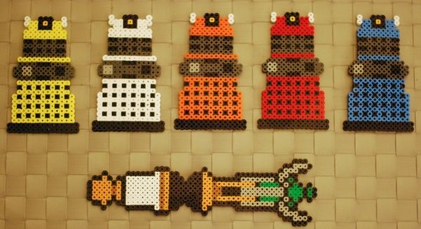 Doctor Who Perler Necklaces and Magnets!! These are so cool!!!!