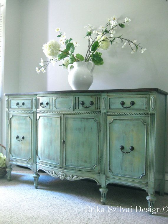 SOLD!!!!!! Vintage Antique Sheraton Style French Country Design Hand Painted Weathered Rustic Buffet Sideboard Media Console