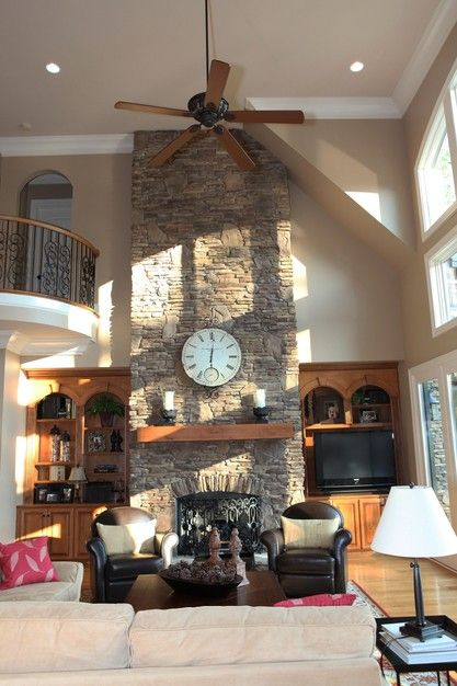 Beautiful great room with a two story fireplace.
