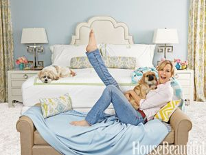 LOVE lara spencer's bedroom in this month's House Beautiful..... especially the nail heads in that headboard.