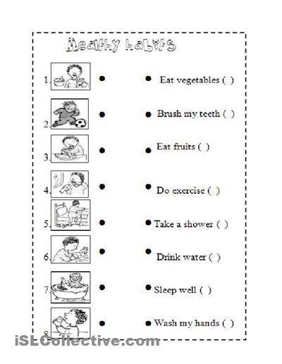 healthy habits for kids worksheets images for good health habits vocabulary pinterest. Black Bedroom Furniture Sets. Home Design Ideas