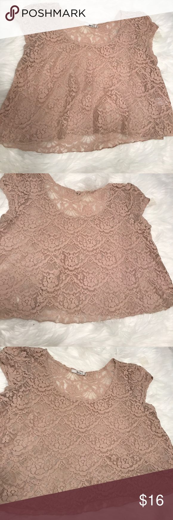 Papaya Nude Lace short sleeve top Nude lace shirt from papaya. Crop style. Size large measurements: 20.5 inches bust. 18 inches length. New without a tag. Papaya Tops Crop Tops