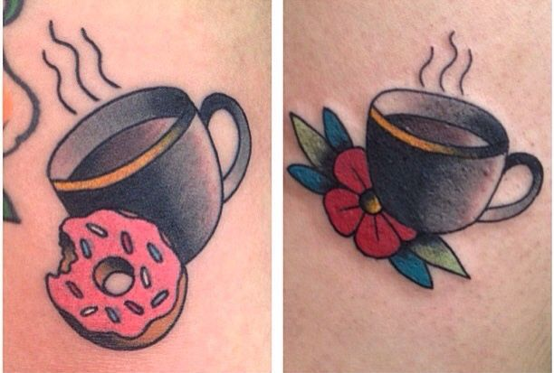coffe and doughnut tattoo done by carrie daniels tattoos by carrie daniels pinterest best. Black Bedroom Furniture Sets. Home Design Ideas