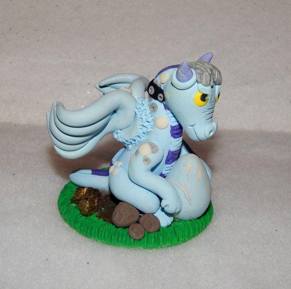Dragon ornament  dragon figurine  polymer clay by Wishcraft2013