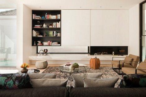 Travis Walton Cloverdale #Interiors #Living Room #Joinery Details  Like us of white & black