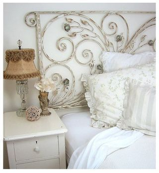 must find an old iron gate for a headboard: Shabby Chic, Wrought Irons Gates, Headboards, Head Boards, White Decor, Bedrooms, Guest Rooms, Sweet Dreams, Porches Railings