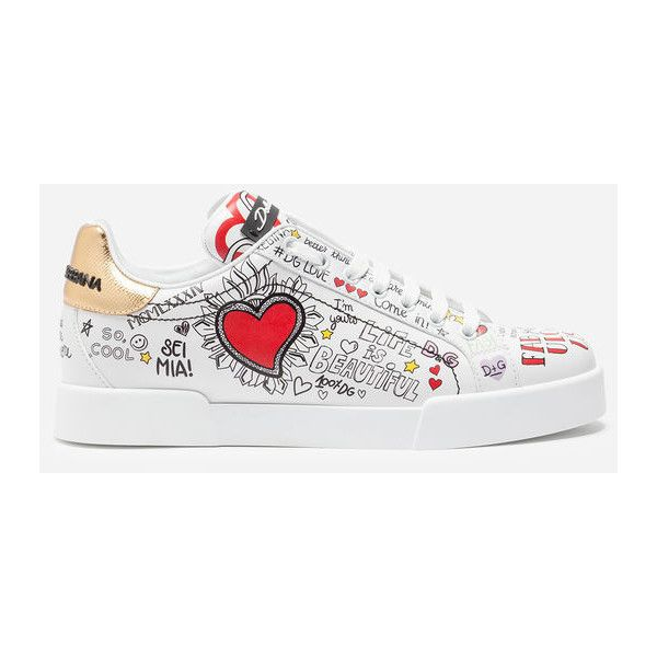Dolce & Gabbana Sneakers in Printed Calfskin ($945) ❤ liked on Polyvore featuring shoes, sneakers, white, dolce gabbana trainers, dolce gabbana shoes, dolce gabbana sneakers, white sneakers and calfskin shoes